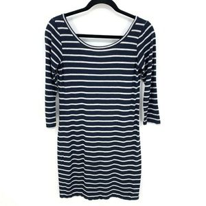 Club Monaco Stripe 3/4 Sleeve Low Back Mini Dress